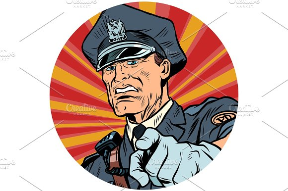 Points Serious Police Officer Pop Art Avatar Character Icon