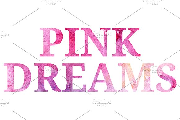 Watercolor Pink Dreams Phrase Vector