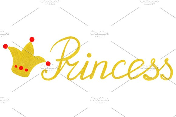 Golden Princess Word Lettering Crown