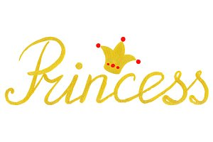 Golden Princess word lettering crown