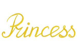 Golden gold Princess word lettering