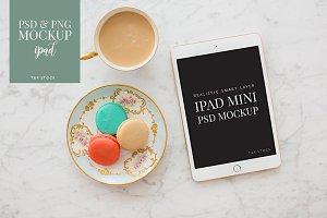 iPad Mockup w/Macarons & Coffee Cup
