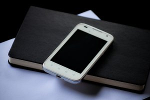 mobile phone and book