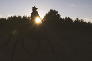 Silhouette of a woman in cowboy hat riding a horse - sunset