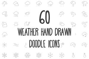 60 Weather Hand Drawn Doodle Icons
