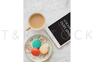 iPad Mockup w/ Macarons & Tea