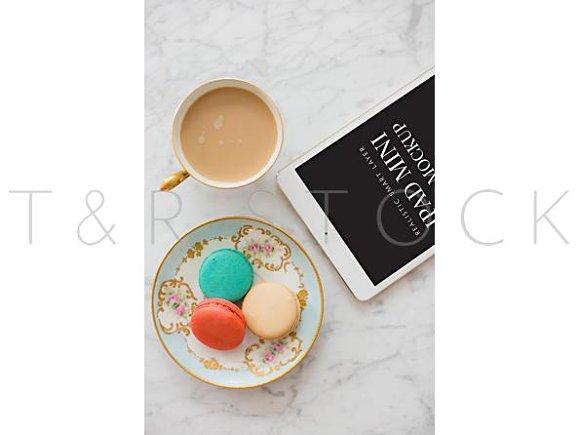 IPad Mockup W Macarons Tea