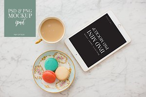 iPad Mockup Tea & Macarons on Marble