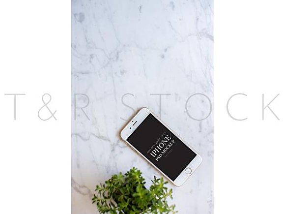 IPhone Mockup On Marble Desktop