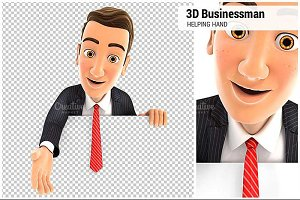 3D Businessman Helping Hand