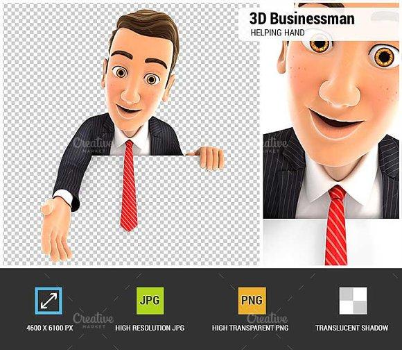 3D Businessman Helping Hand