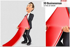 3D Businessman Lifting Up Red Arrow