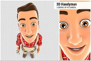 3D Handyman Looking Up at Camera