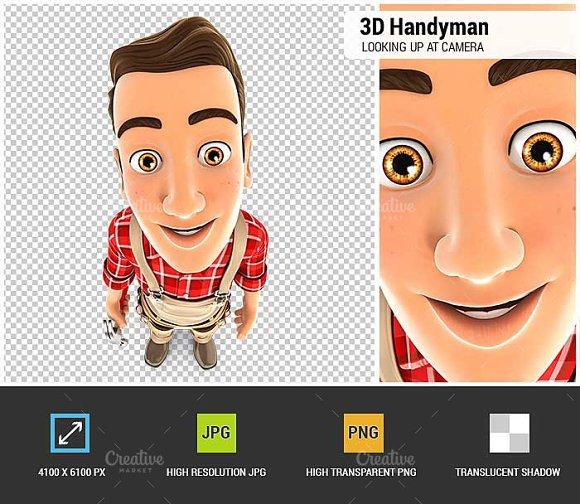 3D Handyman Looking Up At Camera