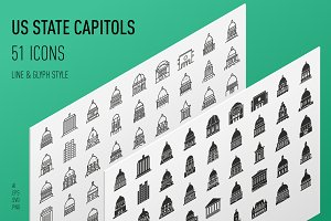 US State Capitols Icon Set