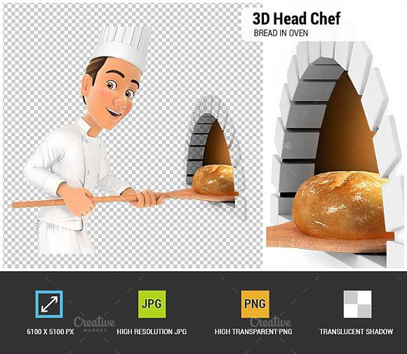 3D Head Chef Putting Bread In Oven