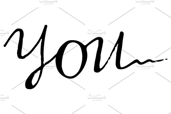 You Word Lettering Italic Vector