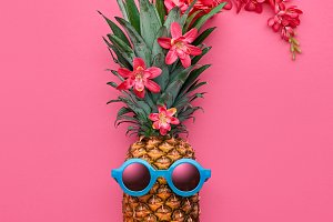 Pineapple Fashion Hipster. Tropical Summer Mood