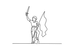 Young Boy Playing with sword and flag
