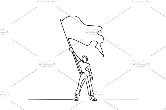 Man Holding Flag Continuous Line Drawing