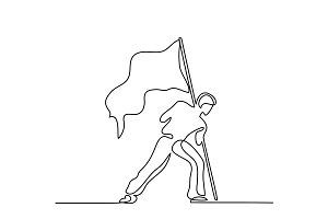 Man holding flag. Continuous line drawing