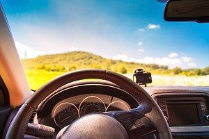 Car steering wheel.