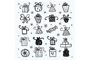 Doodle set of presents