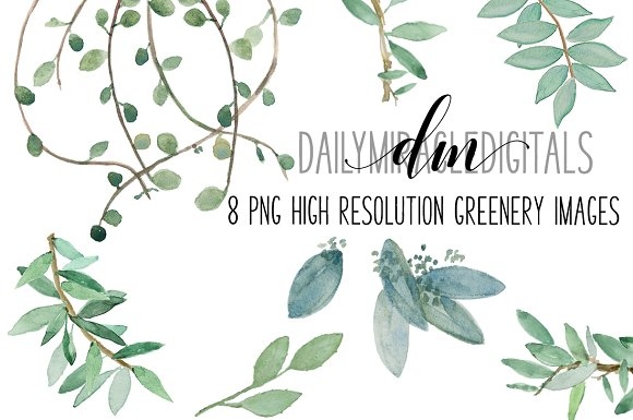 8 Piece High Res Watercolor Greenery
