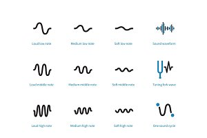 Sound types cycle duotone icons on white background.