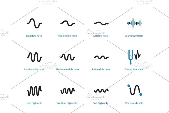 Sound Types Cycle Duotone Icons On White Background