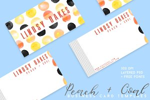 Peach + Coal Business Card Template