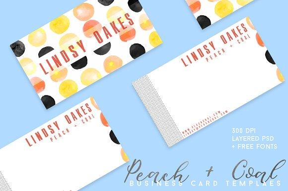 Peach + Coal Business Card Template