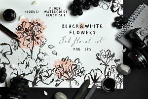 Black&White Flowers - Ink floral set