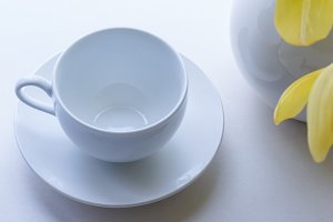 White cup and saucer