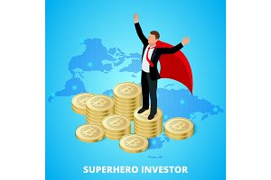 Isometric superhero businessman investor on a stack of bitcoin. Concept for web or infographics vector illustration. Earnings growth concept bitcoin, mining crypto. Vector