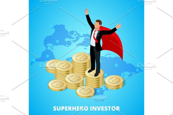 Isometric Superhero Businessman Investor On A Stack Of Bitcoin Concept For Web Or Infographics Vector Illustration Earnings Growth Concept Bitcoin Mining Crypto Vector