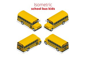 Isometric Yellow School Bus Kids vector illustration isolated on white background. Transportation pupil or student, transport and automobile.
