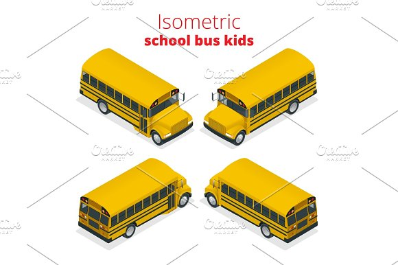 Isometric Yellow School Bus Kids Vector Illustration Isolated On White Background Transportation Pupil Or Student Transport And Automobile