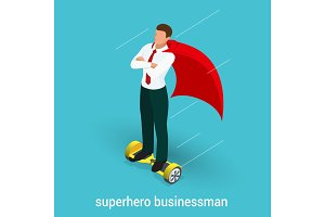 Isometric Superhero concept. Handsome Businessman in a suit superhero riding to work on Self balancing electric scooter. Vector illustration in flat style.