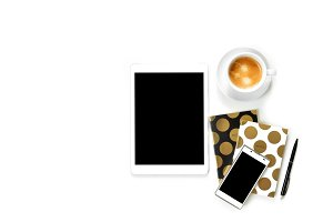 Flat lay photo of office white desk with tablet,cup of coffee and gold notebook copy space background