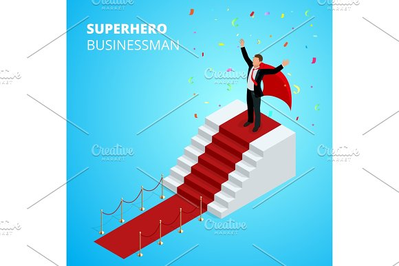 Isometric Super Hero Businessman On The Podium With Red Carpet Isolated On White Background Realistic Vector Red Event Carpet Gold Barriers