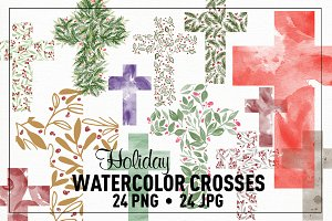 Watercolor Holiday Christmas Crosses