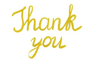 Golden Thank You phrase lettering