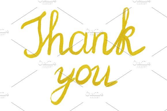 Golden Thank You Phrase Lettering