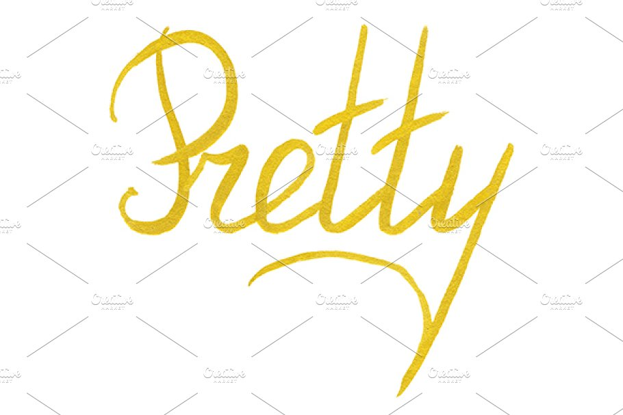 Golden gold Pretty word lettering