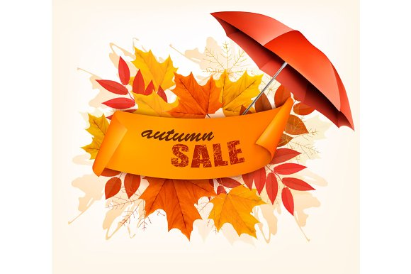 Autumn Sale Card With Leaves