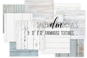 9 Farmhouse texture digital papers
