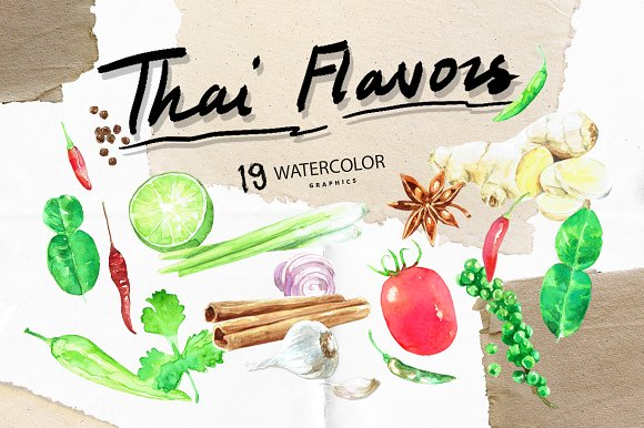 Thai Flavors Watercolor Graphic