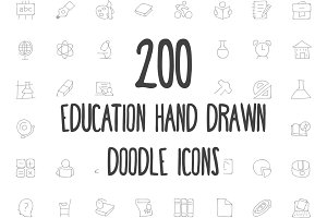 200 Education Hand Drawn Doodle Icon
