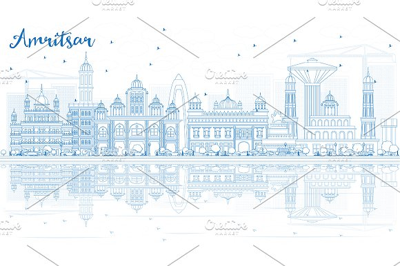Outline Amritsar Skyline
